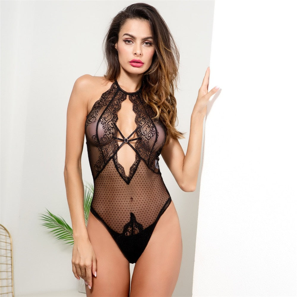 Black Women Lace Bodysuit High Neck Body suit Mesh Sheer Women Club Bodysuits Skinny Cami Bodycon Rompers Body Overalls LNE84-geekbuyig