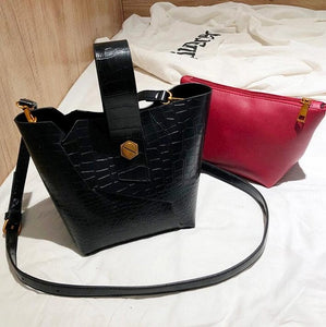 Vintage Fashion Female Tote bag 2018 New Quality PU Leather Women's Designer Handbag Alligator Bucket bag Shoulder Messenger Bag-geekbuyig