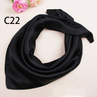 O CHUANG Solid Color Silk Scarf Women's Small Square Satin Artifical Hair Scarves for Ladies Handkerchief 60*60cm-geekbuyig