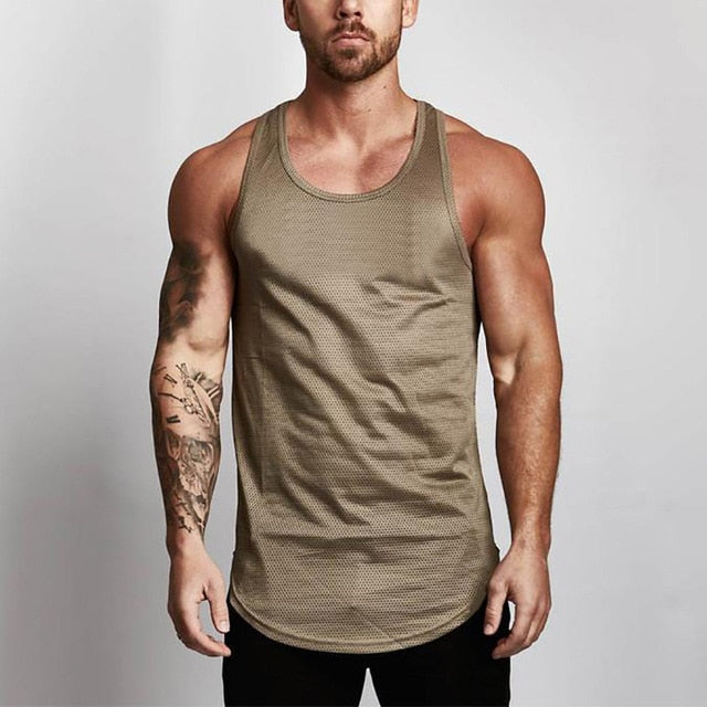 Brand Mens Mesh Tank Tops Fitness Clothing 2018 Summer Muscle Vest Gyms Stringer Tanktop Canottiere Bodybuiding Sleeveless Shirt-geekbuyig