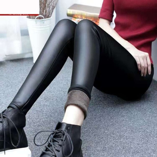 New Plus Size Solid Women Leggings Warm Thick Sexy Faux Leather Leggings Slim Stretchy Skinny Pants For Women S-3XL 4XL-geekbuyig