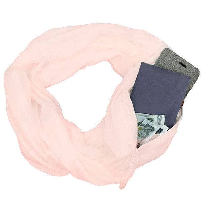 Women Winter Scarf With Pocket Convertible Journey Scarf All-match Fashion Women Zipper Soft Pocket Loop Scarf 1pc-geekbuyig