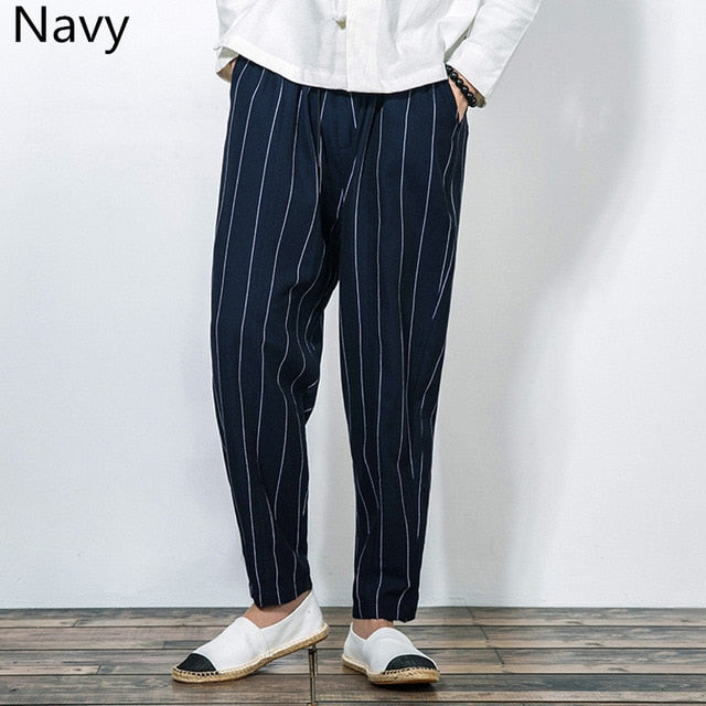 INCERUN Men's Casual Pants Stripe Pockets Baggy Joggers Fashion Trousers Male Cotton Streetwear Retro Long Pants Plus Size 2018-geekbuyig