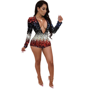 Sparkly Sequin Rompers Womens Jumpsuit Shorts Overalls Deep Plunge V Neck Elegant Club Party Playsuits Glitter Jumpsuit Romper-geekbuyig