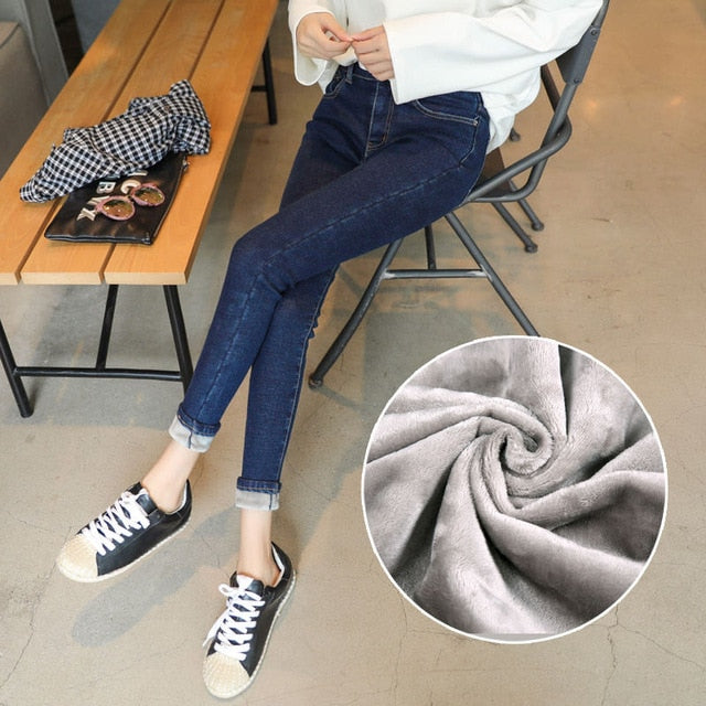 Plus Velvet High Waist Jeans Women Warm Thicken Autumn Winter Jeans Femme Casual Vintage Jeans Stretch Women Pencil Pants Q817-geekbuyig