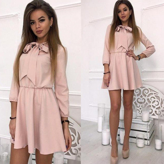 Fall Dress 2018 Women New Arrival Fashion Solid Bow Causal Mini Dress Autumn Elegant Vintage Christmas Party Dresses Plus Size-geekbuyig