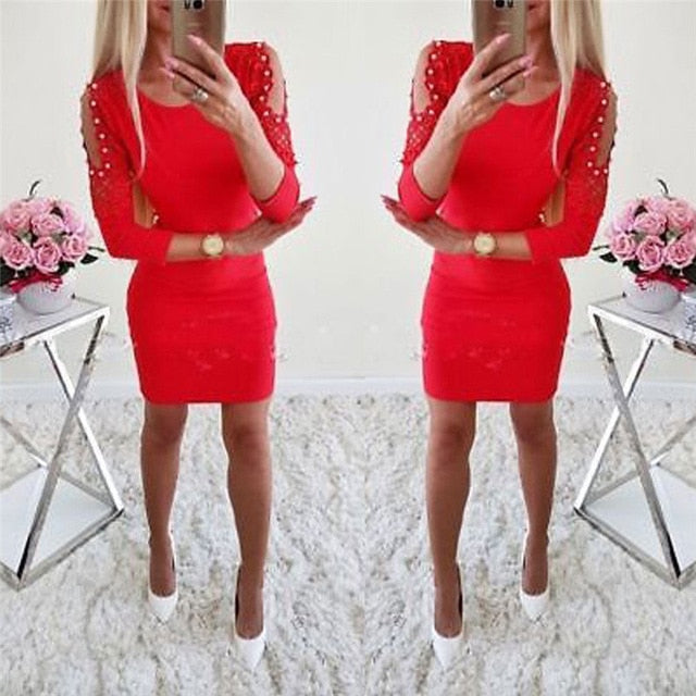 Fall 2018 Fashion Women Shoulder With Lace Casual Vintage Sexy Bodycon Mini Dresses Autumn O-neck Elegant Christmas Party Dress-geekbuyig