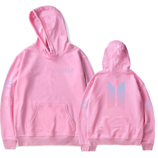 drop ship BTS Bangtan Boys Sweatshirt Women Hoodies Love Yourself Bts Print Sweatshirt Women Pullovers Korean harajuku Pullovers-geekbuyig
