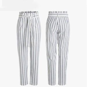 New Plaid high waist harem pants Women summer style ankle-length vintagel pants female office lady white striped trousers Casual-geekbuyig