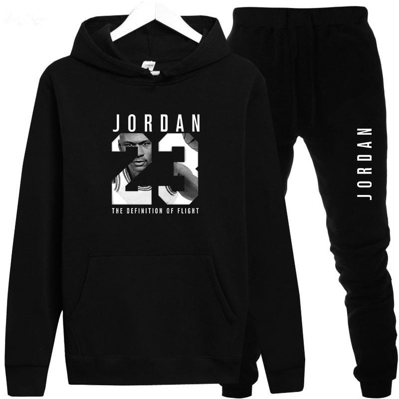 New 2018 Brand Tracksuit Fashion JORDAN 23 Men Sportswear Two Piece Sets All Cotton Fleece Thick hoodie+Pants Sporting Suit Male-geekbuyig
