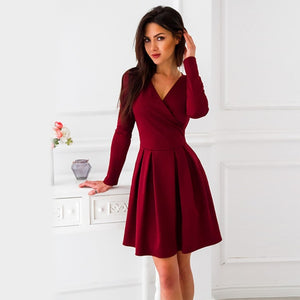 Autumn Dress 2018 Women Long Sleeve A-Line Dress Elegant V-Neck Mini Casual Dress Burgundy Blue Office Dress-geekbuyig