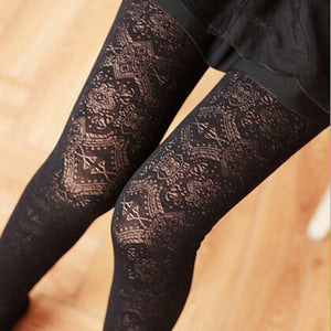 ZYFPGS Winter Women Leggings Slim Fitness Thickened Highly Elastic Black Leggings Workout Pattern Lace Trending Products 2018-geekbuyig