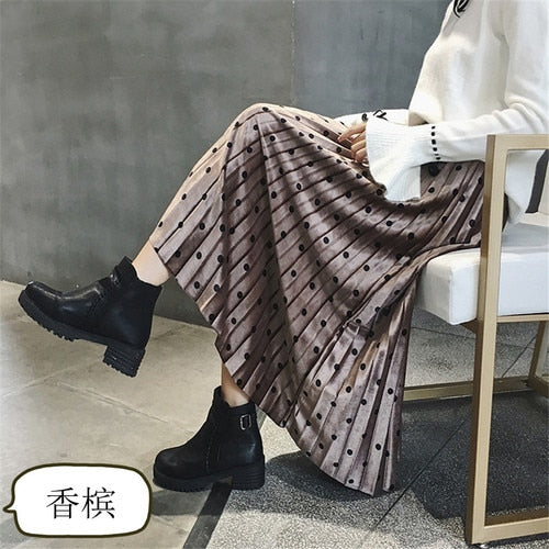 2018 New Autumn Winter Skirts Womens Fashion Velvet A-Line Pleated Skirt Dot Gorgeous Female Casual Elastic Waist Midi Skirts-geekbuyig