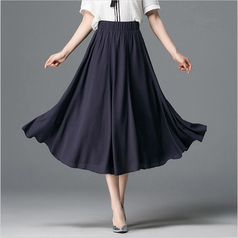 Women Elegant Elastic High Waist Chiffon Skirt Casual Loose Solid Long Skirts 7Color 2018 Summer Vestido Large Size 6XL 7XL-geekbuyig