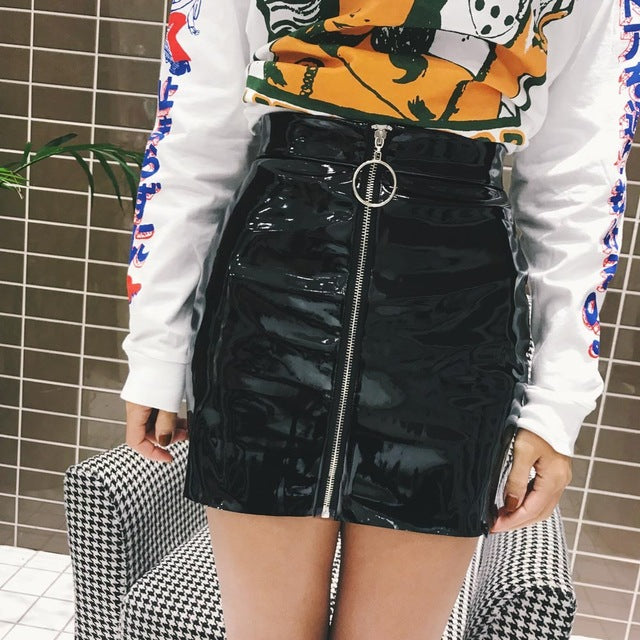Sexy Women Fashion High Waist Zip Faux Leather Short Pencil Bodycon Mini Skirt 2018 New Solid White Skirt-geekbuyig