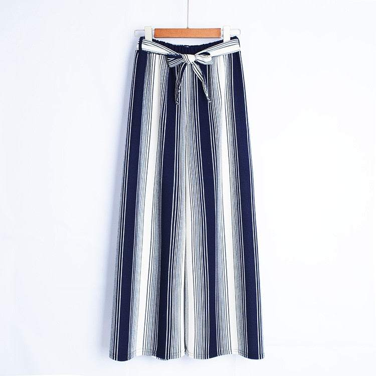 2018 new summer wide leg pants stripes loose wide leg pants high waist bow wild was thin large size nine points pants-geekbuyig