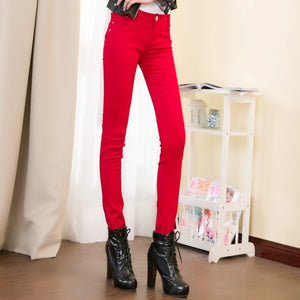 Women's Candy Color Pencil Pants Casual Slim Stretch Demin Female Trousers 2018 Autumn Fashion Skinny Jeans Long Pants For Woman-geekbuyig