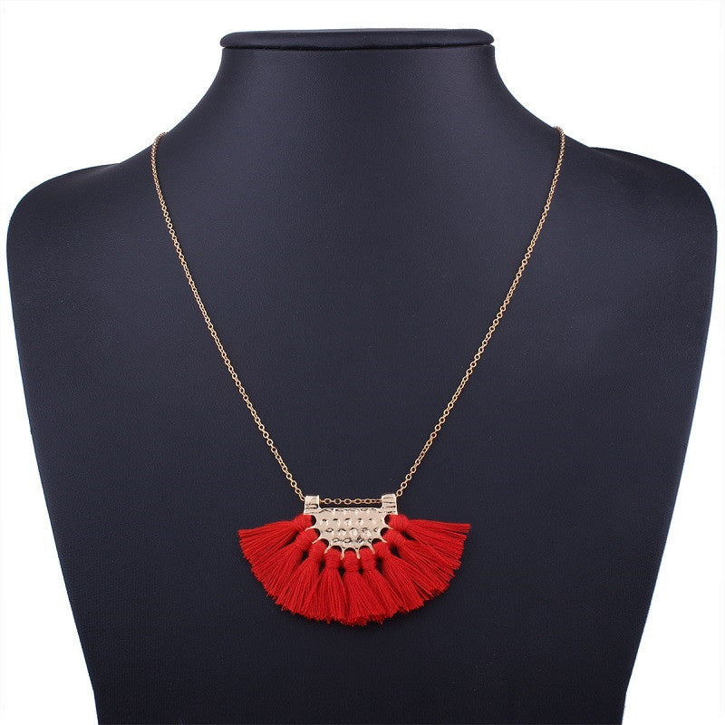 LZHLQ Long Tassel Necklace For Women Maxi Statement Fashion Jewelry Cute Lovely Necklace Black Red White Necklace Boho Necklace-geekbuyig
