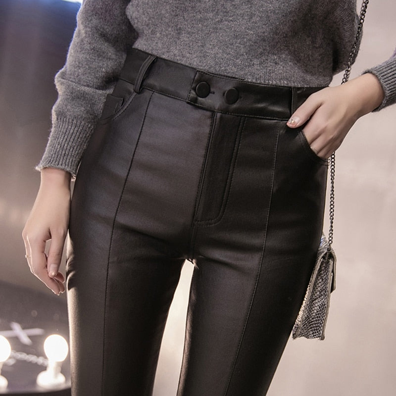 2018 New Fall Winter Female Pants Women Thick PU Leather Plus Size Pants Warm Winter High Waist Sexy Slim Black Pencil Trousers-geekbuyig
