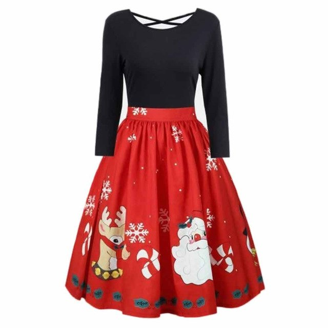 2018 Autumn Women Dress Fashion Womens Plus Size Christmas Print Criss Cross Gown Evening Party Dress Ladies Dresses-geekbuyig