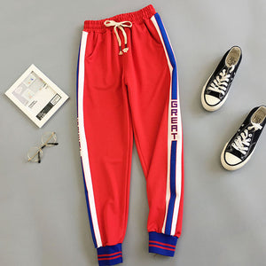 BF Style Red Trousers Women 2018 New Autumn Loose Letter Print Pockets Thin Streetwear Cool Girl Fashion Harajuku Hip Hop Pants-geekbuyig
