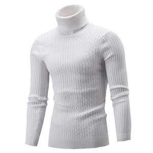 SHUJIN Winter Warm Turtleneck Sweater Men Fashion Solid Knitted Mens Sweaters 2018 Casual Male Double Collar Slim Fit Pullover-geekbuyig