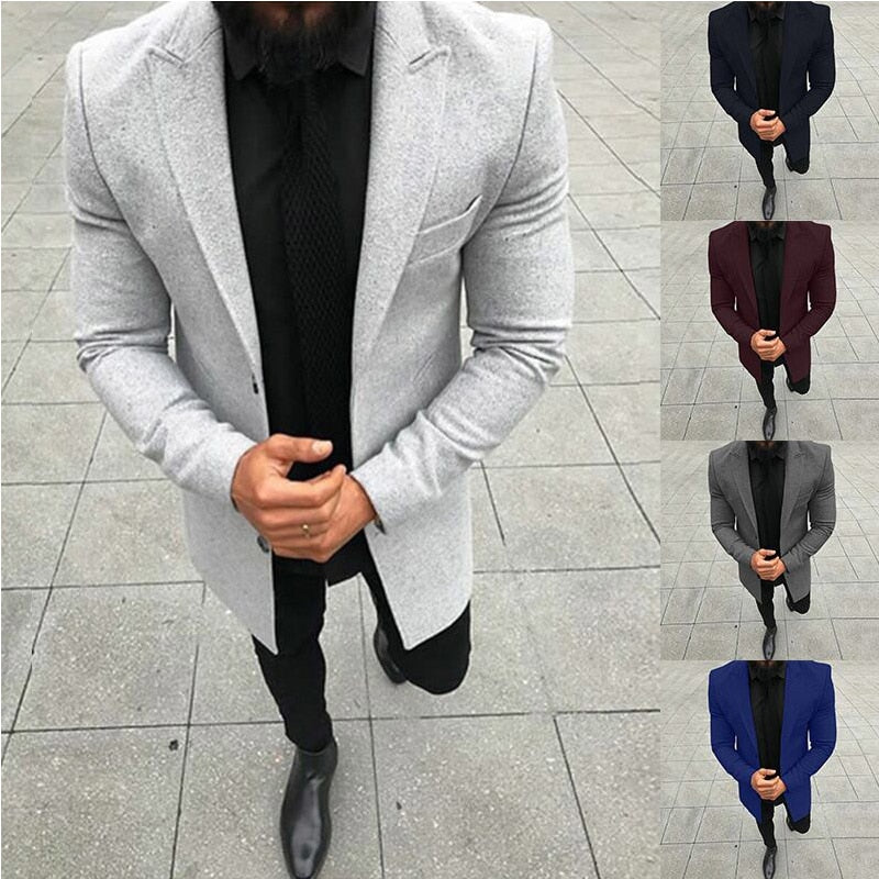 2018 Winter Men's Casual Thicken Woolen Trench Coat Business Coats Male Solid Color Slim Fit Overcoat Medium Long Jackets-geekbuyig