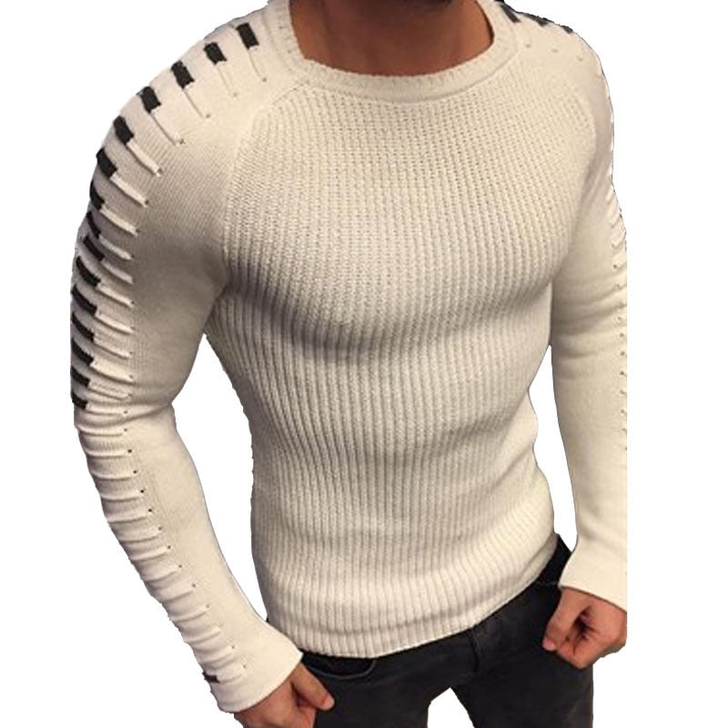 Laamei Autumn Winter Sweater Men 2018 New Arrival Casual Pullover Men Long Sleeve O-Neck Patchwork Knitted Solid Men Sweaters-geekbuyig