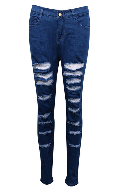 US Stock Women Denim Ripped Pants High Waist Stretch Jeans Slim Pencil Trousers-geekbuyig