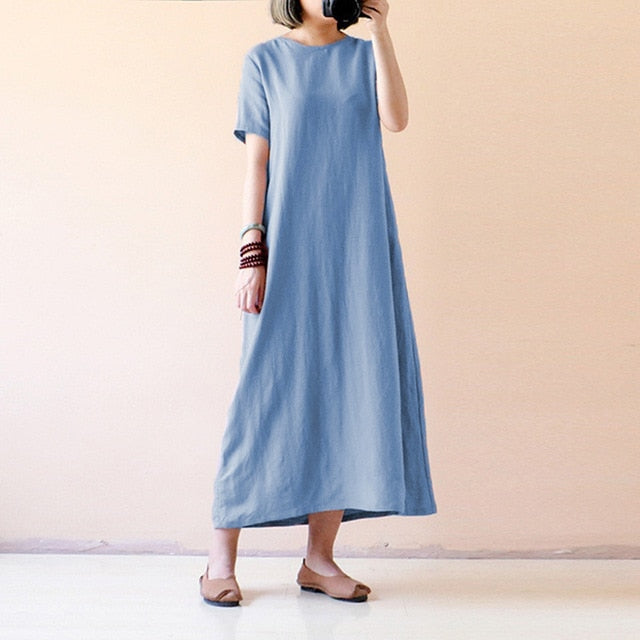 Celmia Women Vintage Linen Dress 2018 Summer Shirt Dress Short Sleeve Solid Casual Loose Party Beach Maxi Long Vestidos Hot Sale-geekbuyig