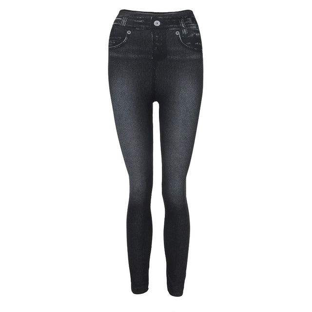 Women Denim Pants Pocket Slim Leggings Fitness Plus Size Leggins Length Jeans Push Up Ladies Trousers Plus Size Leggins-geekbuyig