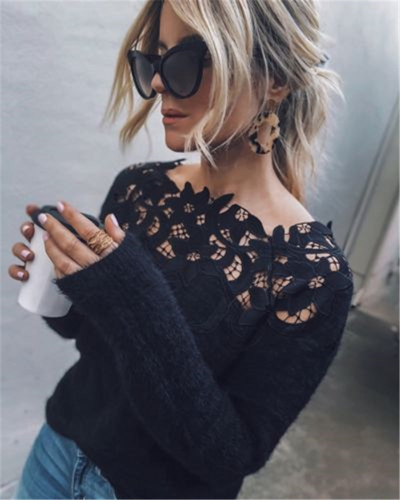 Women's Knitted Sweater Knitwear Pullover Sweaters 2018 Autumn Winter Tops Women Lace Long Sleeve Jumpers Casual Sexy Sweaters-geekbuyig