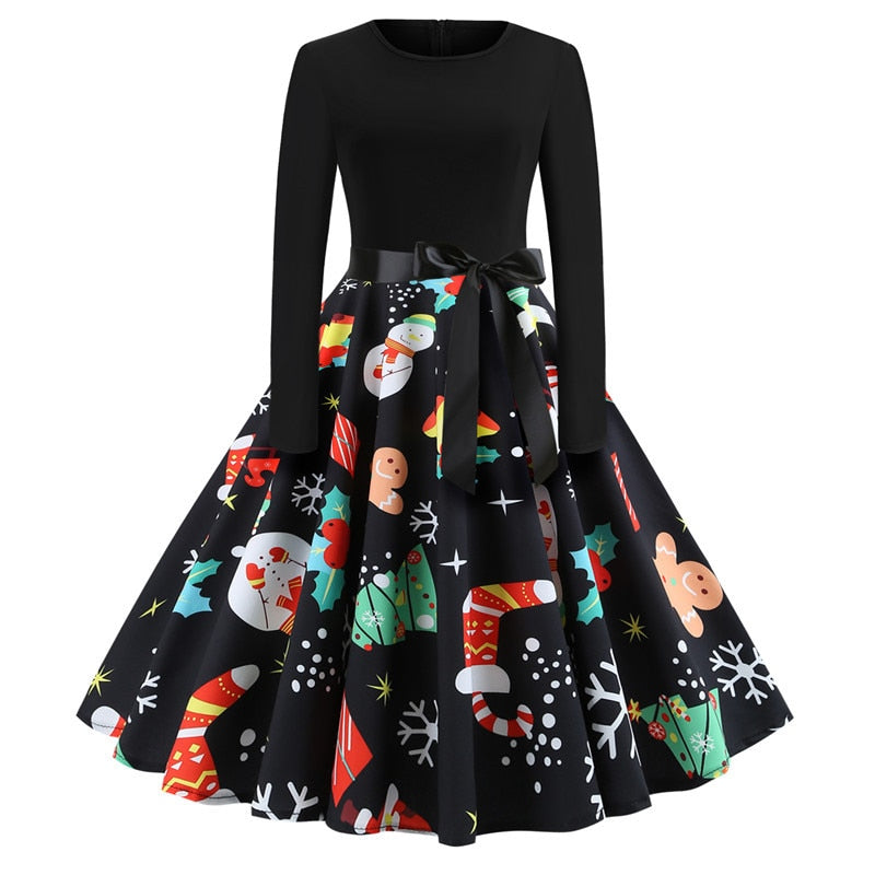 Women Winter Clothing 50S 60S Vintage Christmas Dress Santa Claus Star Snow Ball Print Dress Party Long Sleeve Midi Dresses-geekbuyig