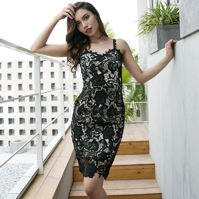 FLULU Summer Autumn Women Dress 2018 Fashion Slim Elegant Hollow Out Lace Dress Female Black Vintage Party Club Dresses Vestidos-geekbuyig
