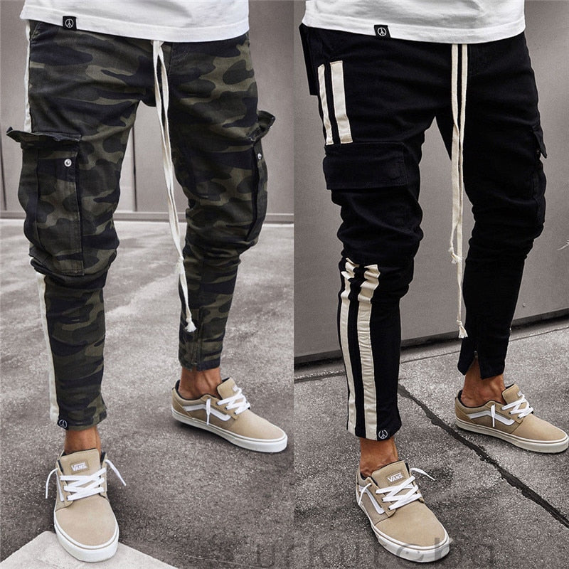 Fashion Men Trousers Casual Camouflage Pants Military Work Cargo Camo Combat Plus Size Pant Side Stripe Hip Pop Style Streetwear-geekbuyig