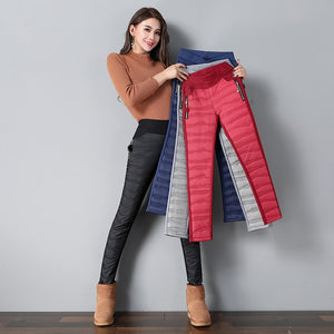 2018 New Women's Pants Elastic Waist Long Trousers Winter Down Pants Lady Plus Size Outdoor Pants Female Warm Thick Pencil Pants-geekbuyig