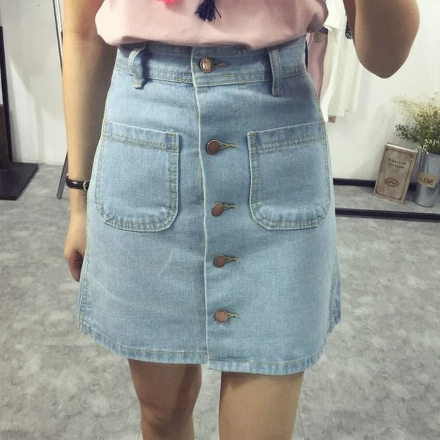 Women New Fashion A-Line Korean Mini Jeans Skirt Thin Single Breast Button Slim Waist Denim Skirts Summer Cheap Sexy Skirt Women-geekbuyig