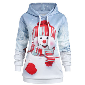 3D Print Christmas Hoodies Hooded Pullover Harajuku Women Christmas Sweatshirts Women Hoodies Kangaroo Pocket Snowman 40NV3-geekbuyig