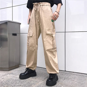 hip hop vintage solid New fashion korean hipster Women's Clothing ulzzang personality Big pocket loose high harajuku cargo pants-geekbuyig