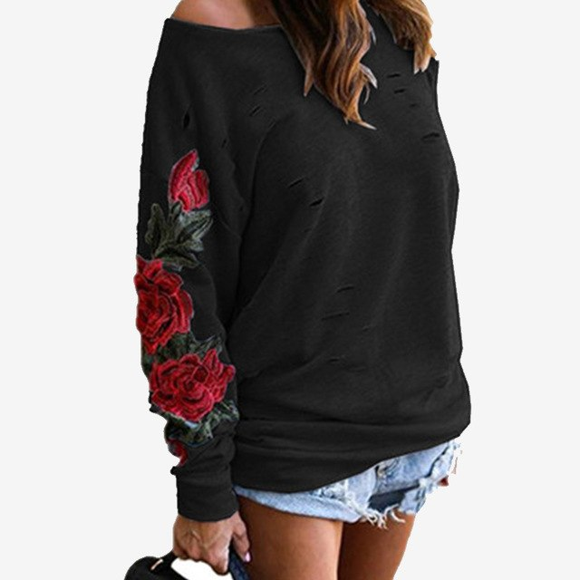 Ripped Embroidery Hole Women's Sweatshirt White Black Red Rose Long Sleeve Female Hoodies 2018 Autumn Loose Hoody Plus Size 5XL-geekbuyig