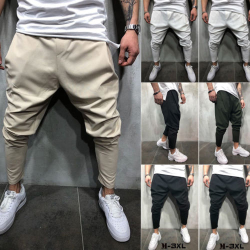 Mens Gym Slim Fit Trousers Tracksuit Bottoms Skinny Joggers Sweat Track Pants Solid Cotton Cloth-geekbuyig