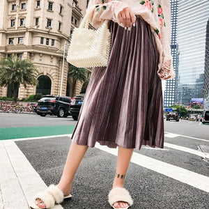 Wixra 2018 New Autumn Winter Women Fashion Velvet Pleated Skirts High Waist Elegant Skirt Casual Elastic Waist Mid-Calf Skirt-geekbuyig