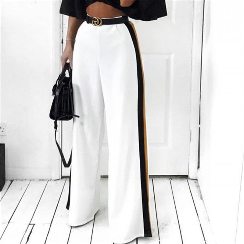 New Fashion Women High Waist Wide Leg Long Pants Casual Side Stripe Straight Pants Elastic Waist Trousers OL Femme Elegant Pant-geekbuyig