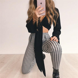 New Stylish Black Yellow Red Zip-up Plaid Sexy Plaid Pants Sweatpants Women Side Stripe Trousers Fashion pant pantalon mujer-geekbuyig