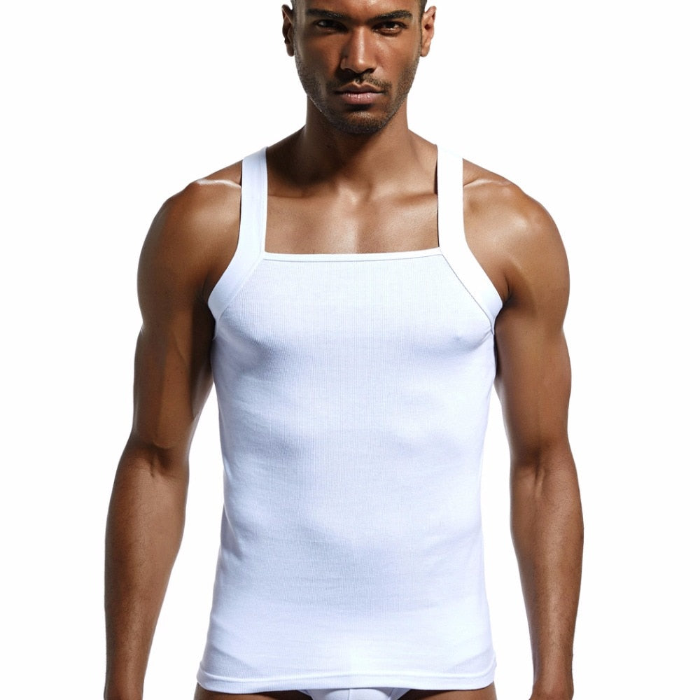 men's fashion vest cotton Tight tank top home sleep Casual Solid gay Sexy Asian size Casual sleeveless garment Body building-geekbuyig