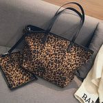 2 Pcs/Set Plush big bag female 2018 new tide leopard print zipper shoulder bagslarge-capacity tote shopping Hand bags handbag-geekbuyig