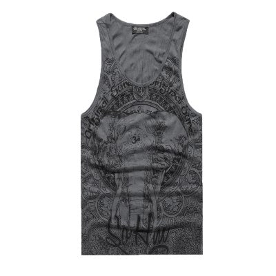 retro blue elephant printed men 's casual vest male cotton sleeveless tank tops bodybuilding tank top men summer 2018 new-geekbuyig
