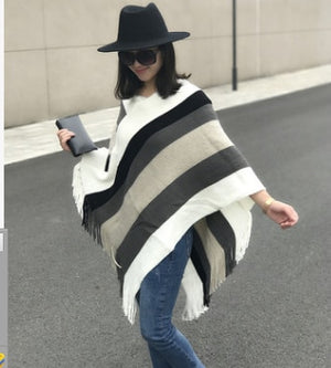 Knitting stripe tassel Winter Acrylic scarf wraps pashmina women scarfs thick Dual shawl hijab poncho for ladies-geekbuyig