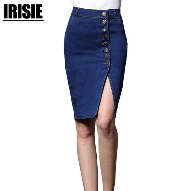 2018 Women Bodycon Jeans Skirt Denim Women Sexy midi Straight Skirt Solid Pencil Button Casual 2018 Knee-Length Bleached Skirt-geekbuyig