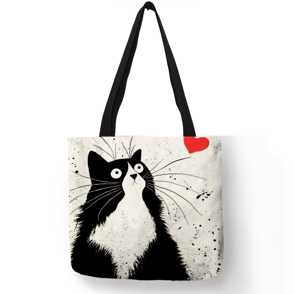 Customized Cute Cat Printing Women Handbag Linen Tote Bags with Print Logo Casual Traveling Beach Bags-geekbuyig